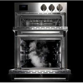 DOBLE HORNO ELECTRICO A VAPOR STEEL SERIE GENESI GFFE6-S ACERO INOX Y CELESTE 60 CM