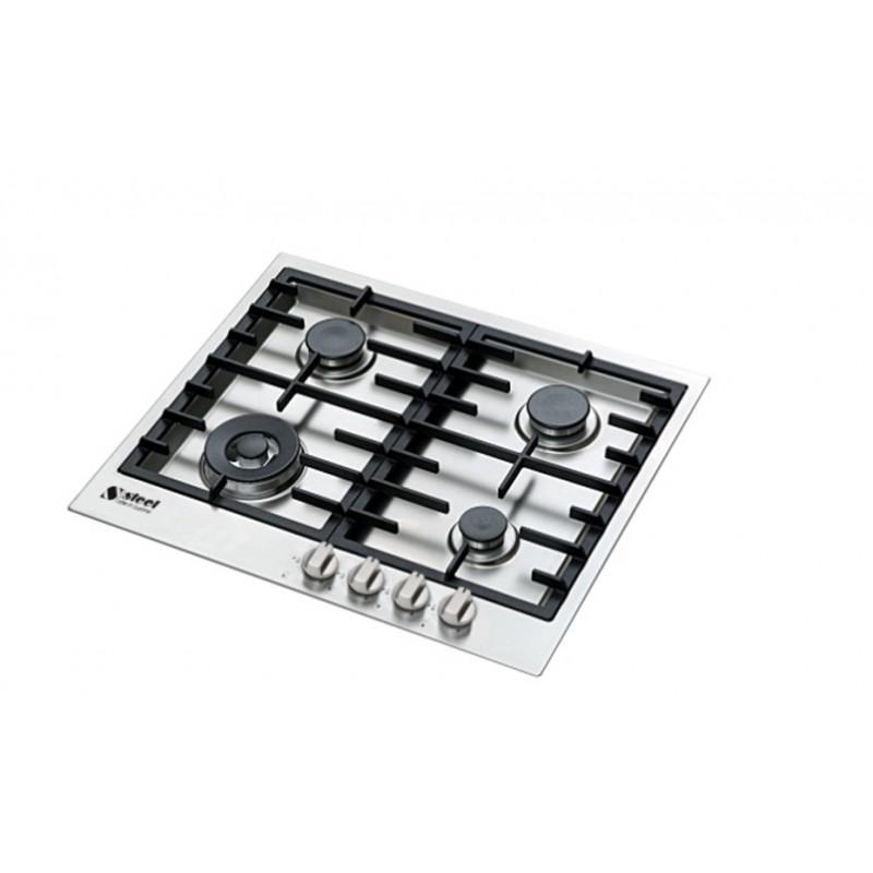 steel gaskochfeld genesi gp6b 4 edelstahl 60 cm fab appliances. Black Bedroom Furniture Sets. Home Design Ideas