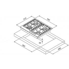 TABLE DE CUISSON À GAZ STEEL SÉRIE GENESI GP6B-4 ACIER INOX 60 CM
