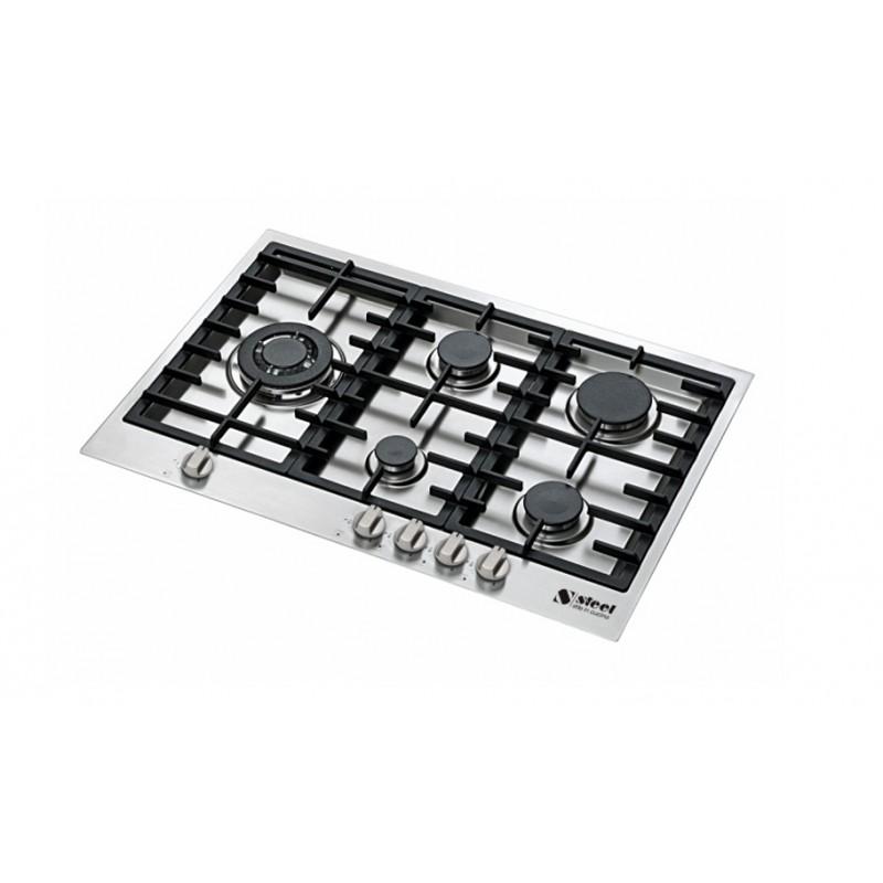 table de cuisson gaz steel s rie genesi gp7b 5 acier. Black Bedroom Furniture Sets. Home Design Ideas