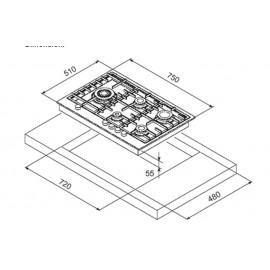 TABLE DE CUISSON À GAZ STEEL SÉRIE GENESI GP7B-5 ACIER INOX 75 CM