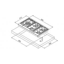 TABLE DE CUISSON À GAZ STEEL SÉRIE GENESI GP9B-5 ACIER INOX 90 CM