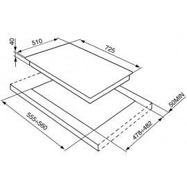 SMEG GASKOCHFELD P372XGHX EDELSTAHL 72,5 CM DESIGNLINIE CLASSIC