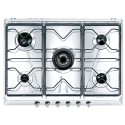 SMEG GAS HOB SRV576-5 CLASSIC AESTHETIC STAINLESS STEEL BASE 70 CM
