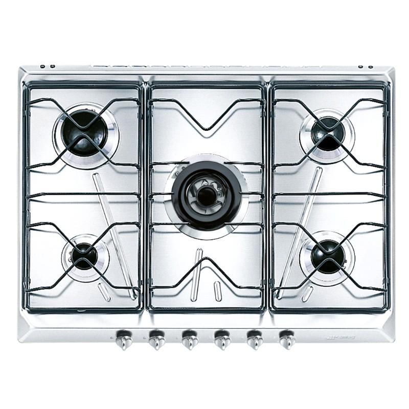 smeg gaskochfeld srv576 5 edelstahl 70 cm fab appliances