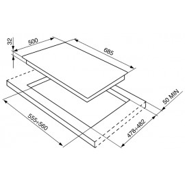 TABLE DE CUISSON SMEG SRV576-5 ACIER INOX 70 CM