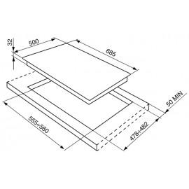 TABLE DE CUISSON SMEG SRV576GH5 ACIER INOX 70 CM