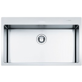 SMEG LFT77RS MIRA KITCHEN SINK 1 BOWL BRUSHED STAINLESS STEEL FLUSH FITTED 77 CM