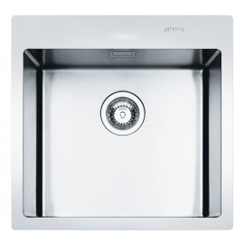 SMEG LFT50RS MIRA KITCHEN SINK 1 BOWL BRUSHED STAINLESS STEEL FLUSH FITTED 56 CM