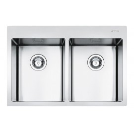 SMEG LFT3434RS MIRA KITCHEN SINK 2 BOWLS BRUSHED STAINLESS STEEL FLUSH FITTED