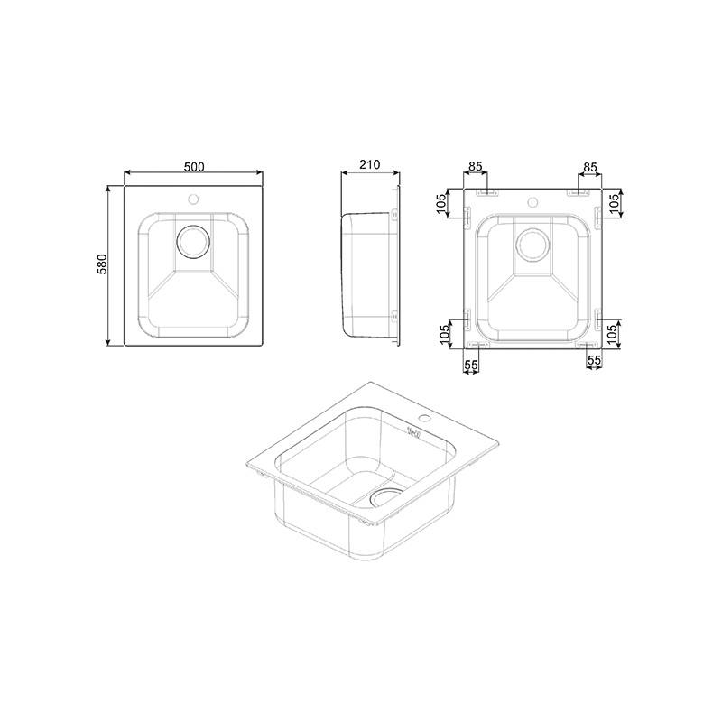 smeg vs45p3ra vier 1 cuve cuivre 58 cm fab appliances. Black Bedroom Furniture Sets. Home Design Ideas