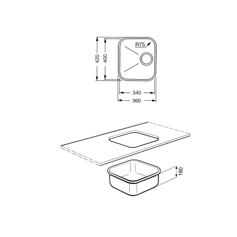 smeg um34ra vier encastrable sous plan 1 cuve cuivre 34. Black Bedroom Furniture Sets. Home Design Ideas