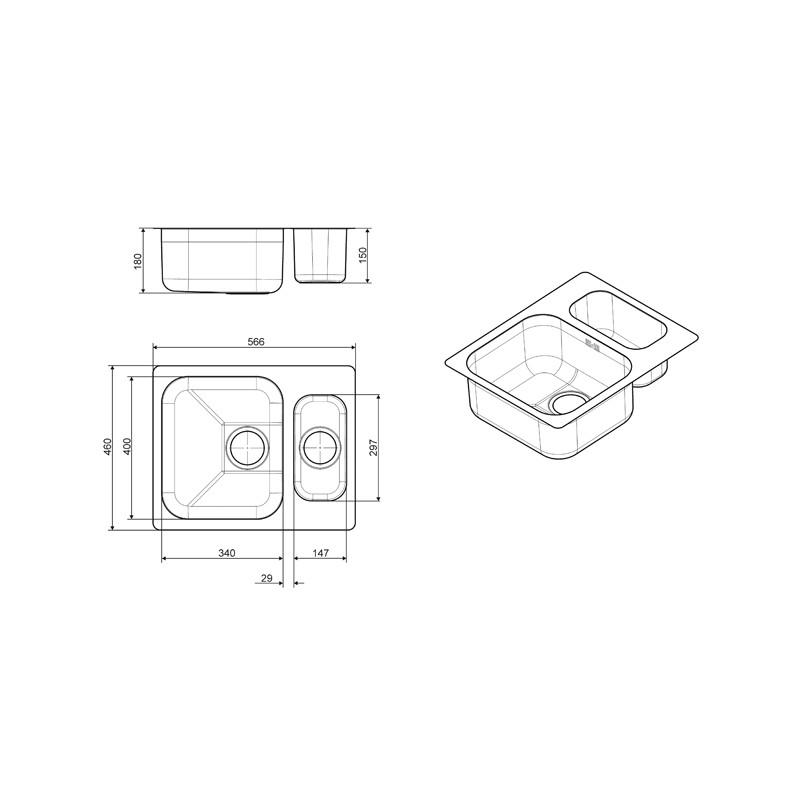 smeg um3415 vier encastrable sous plan 1 5 cuves acier. Black Bedroom Furniture Sets. Home Design Ideas