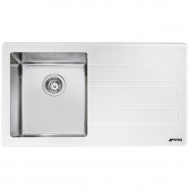 SMEG LMN1VBD NEWSON DESIGN KITCHEN SINK 1 BOWL BRUSHED STAINLESS STEEL AND WHITE MATT GLASS