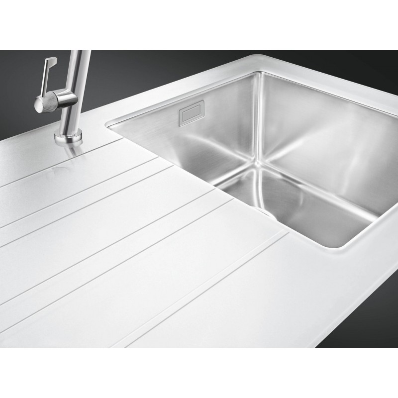 Smeg lmn1vbd newson design kitchen sink 1 bowl brushed for Designer stainless steel sinks