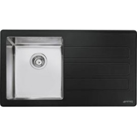 SMEG LMN1VND NEWSON DESIGN KITCHEN SINK 1 BOWL BRUSHED STAINLESS STEEL AND BLACK MATT GLASS