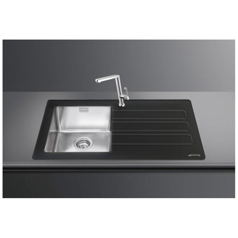 Smeg lmn1vnd newson design kitchen sink 1 bowl brushed for Designer kitchen sinks stainless steel