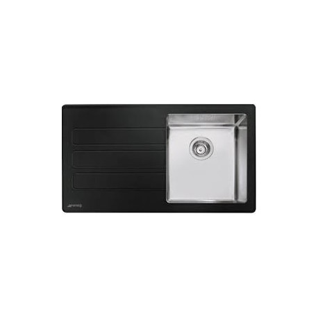 SMEG LMN1VNS NEWSON DESIGN KITCHEN SINK 1 BOWL BRUSHED STAINLESS STEEL AND BLACK MATT GLASS
