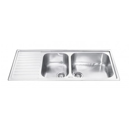 SMEG LG116S-2 KITCHEN SINK 2 BOWLS BRUSHED STAINLESS STEEL