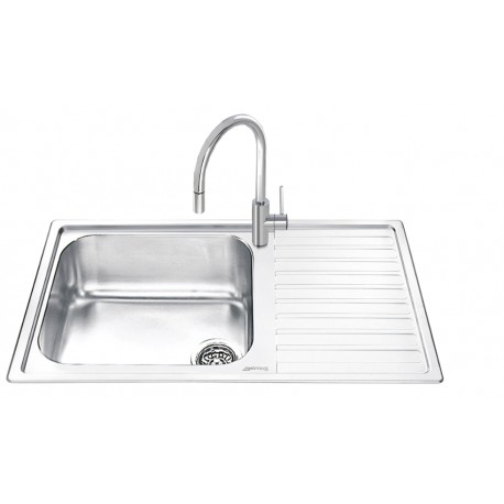SMEG LG861D-2 KITCHEN SINK 1 BOWL BRUSHED STAINLESS STEEL
