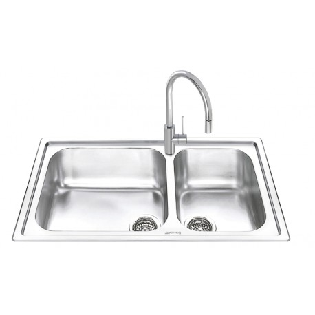 SMEG LG862-2 KITCHEN SINK 2 BOWLS BRUSHED STAINLESS STEEL