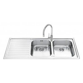 SMEG LL116S-2 KITCHEN SINK 2 BOWLS BRUSHED STAINLESS STEEL