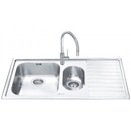 SMEG LL102D-2 KITCHEN SINK 1.5 BOWL BRUSHED STAINLESS STEEL 100 CM