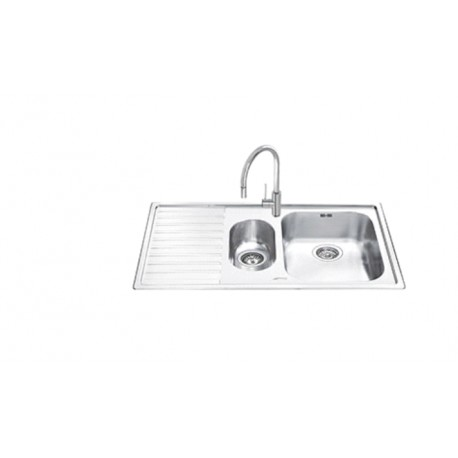 SMEG LL102S-2 KITCHEN SINK 1.5 BOWL BRUSHED STAINLESS STEEL 100 CM