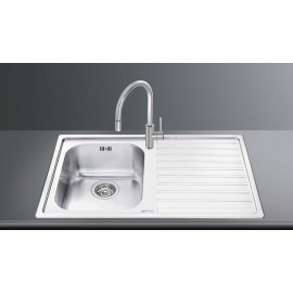 SMEG LL861D-2 KITCHEN SINK 1 BOWL BRUSHED STAINLESS STEEL