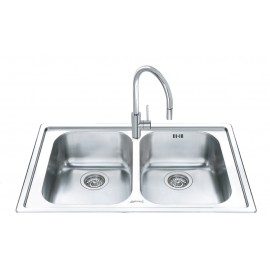 SMEG LL862-2 KITCHEN SINK 2 BOWLS BRUSHED STAINLESS STEEL 86 CM