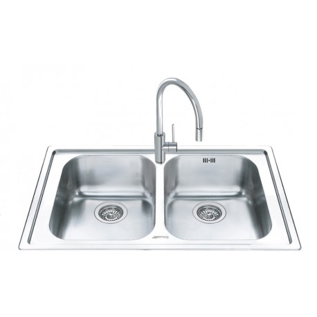 SMEG LL862-2 KITCHEN SINK 2 BOWLS BRUSHED STAINLESS STEEL