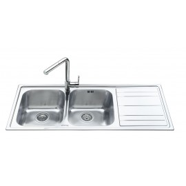 SMEG LEH116D RIGAE KITCHEN SINK 2 BOWLS BRUSHED STAINLESS STEEL