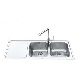 SMEG LEH116S RIGAE KITCHEN SINK 2 BOWLS BRUSHED STAINLESS STEEL