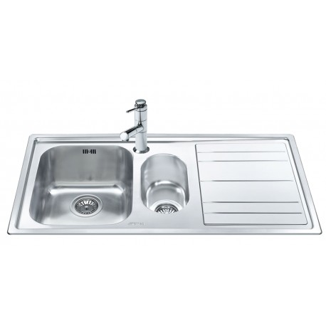 SMEG LEH102D RIGAE KITCHEN SINK 1.5 BOWL BRUSHED STAINLESS STEEL 100 CM