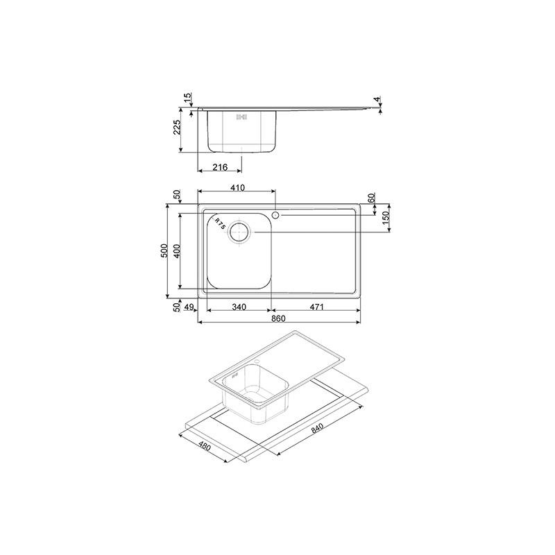 smeg rigae einbausp le leh861s edelstahl satiniert fab. Black Bedroom Furniture Sets. Home Design Ideas