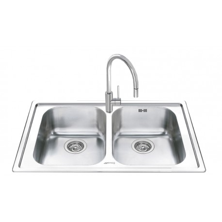 SMEG LEH862 KITCHEN SINK 2 BOWLS BRUSHED STAINLESS STEEL 86 CM |FAB...