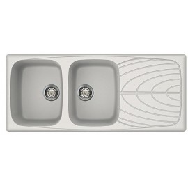 FREGADERO ELLECI MASTER 500 DE DOBLE SENO BLANCO 116x50 - MADE IN ITALY