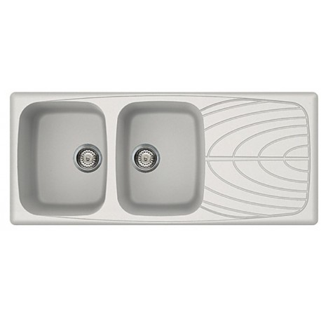 ELLECI KITCHEN SINK MASTER 500 2 BOWLS WHITE MADE IN ITALY