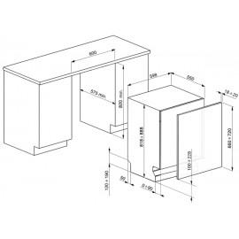 LAVE-VAISSELLE SEMI-PROFESSIONNEL SMEG ST332L TOUT INTÉGRABLE 60 CM CLASSE A+++