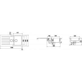 SCHOCK KITCHEN SINK PRIMUS D150 AP - 1.5 BOWL CRISTALITE ANTHRACITE