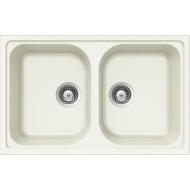 SCHOCK KITCHEN SINK LITHOS N200S A - 2 BOWLS CRISTALITE WHITE
