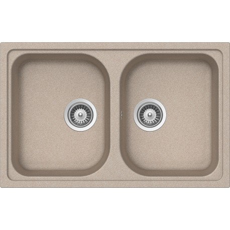 SCHOCK KITCHEN SINK LITHOS N200S A - 2 BOWLS CRISTALITE OATMEAL