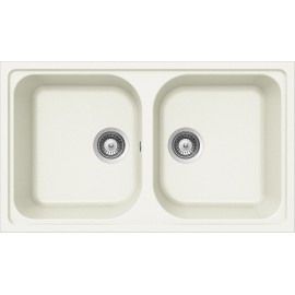 SCHOCK KITCHEN SINK LITHOS N200 A - 2 BOWLS CRISTALITE WHITE ALPINA