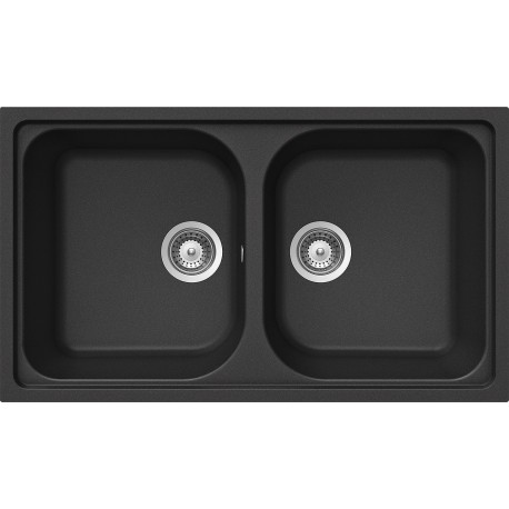 SCHOCK KITCHEN SINK LITHOS N200 A - 2 BOWLS CRISTALITE MATT BLACK