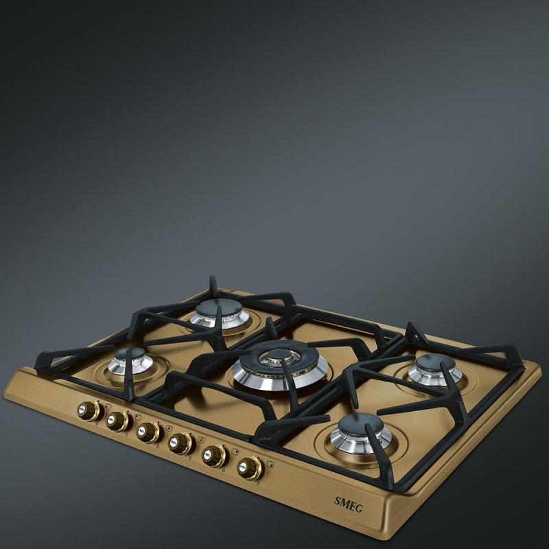 Smeg Gas Hob Sr775ot Brass Cortina Line 70 Cm Fab Appliances