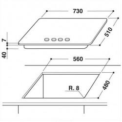 TABLE DE CUISSON WHIRLPOOL GMR7541/IXL ACIER INOX iXELIUM - 73 CM