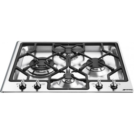 SMEG GAS HOB PGF64-4 ULTRA LOW STAINLESS STEEL BASE 60 CM