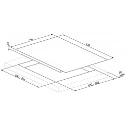SMEG GASKOCHFELD PV175B-1 GLAS WEIß 72 CM