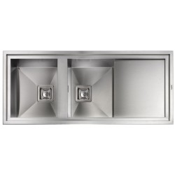 CM MAJESTIC 116X50 KITCHEN SINK 2 BOWLS BRUSHED STAINLESS STEEL - MADE IN ITALY