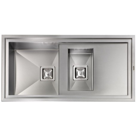 CM MAJESTIC 100X50 KITCHEN SINK 1.5 BOWLS BRUSHED STAINLESS STEEL - MADE IN ITALY